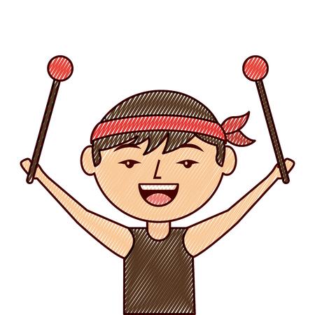 ドラムスティックベクトルイラスト描画デザインを持つ肖像漫画男中国人  イラスト・ベクター素材
