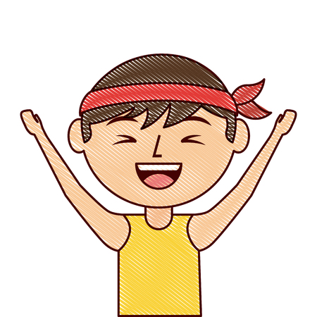 portrait cartoon laughing man chinese with head band vector illustration drawing design