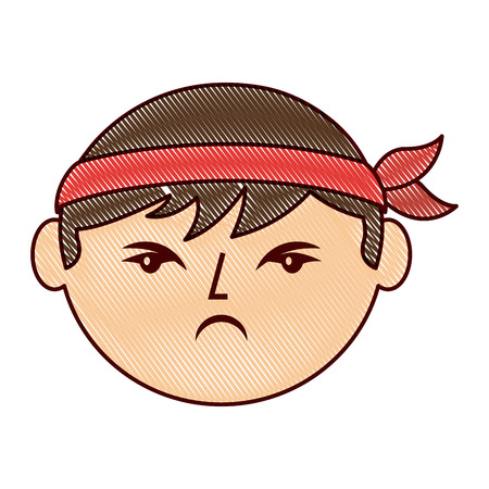 cartoon face angry chinese man vector illustration drawing design