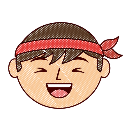 cartoon face laughing chinese man vector illustration drawing design
