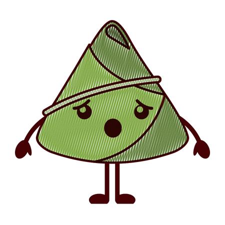 kawaii rice dumpling surprised cartoon vector illustration drawing design