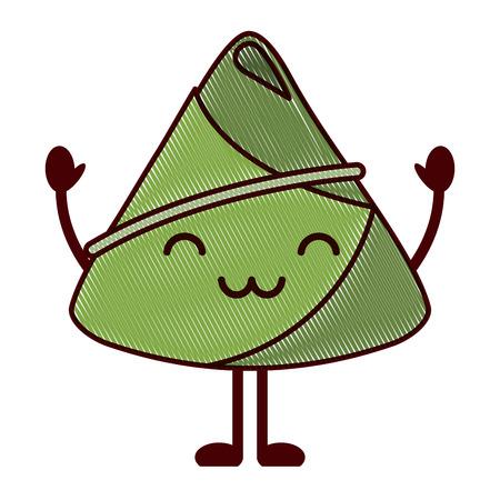 kawaii happy rice dumpling cartoon vector illustration drawing design Illustration