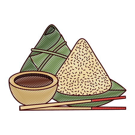 set of cute cartoon chinese food rice soy sauce sticks vector illustration drawing design Çizim