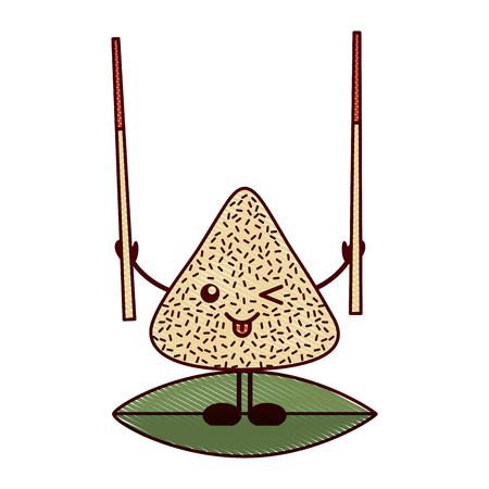 木の棒を持つ可愛い幸せなお餃子ベクトルイラスト描画デザイン