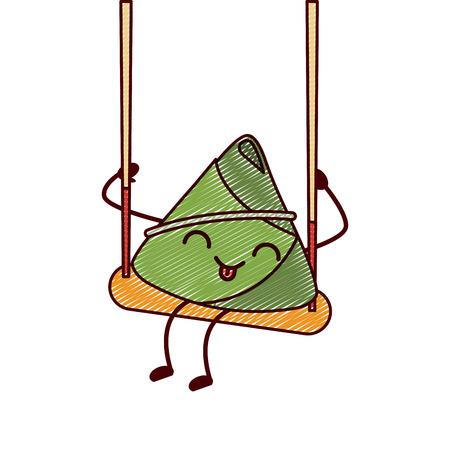 kawaii happy rice dumpling in swing play cartoon vector illustration drawing design