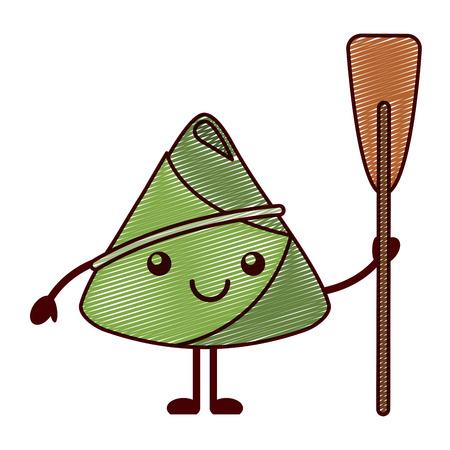 Kawaii happy rice dumpling holding wooden oar vector illustration drawing design