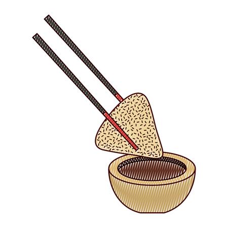 만두 밥 접시와 막대기로 간장 전통적인 벡터 일러스트 그리기 디자인