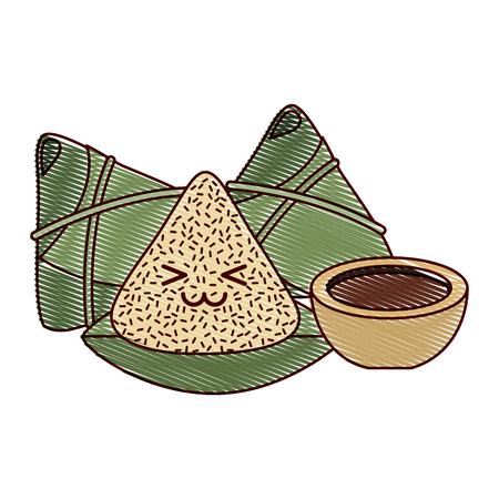 kawaii happy rice dumpling and sauce cartoon vector illustration drawing design Ilustração