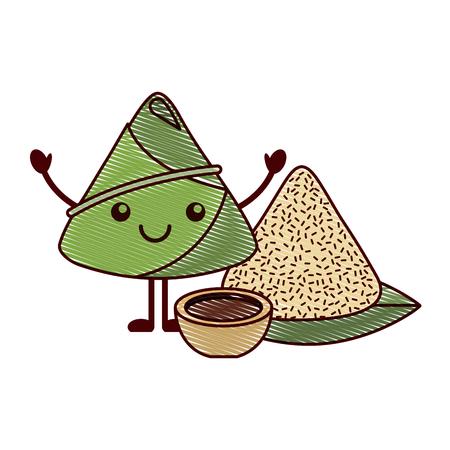 Kawaii happy rice dumpling with sauce cartoon vector illustration drawing design