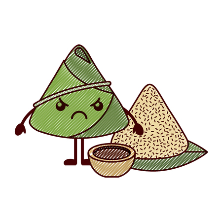 Kawaii angry rice dumpling with sauce cartoon vector illustration drawing design