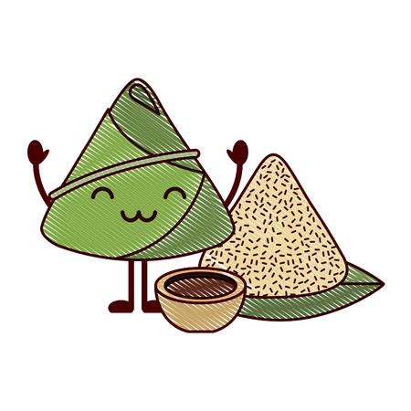 rice dumpling with sauce cartoon vector illustration drawing design