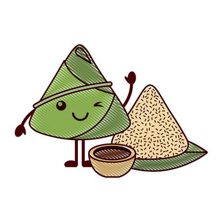 winking rice dumpling with sauce cartoon vector illustration drawing design