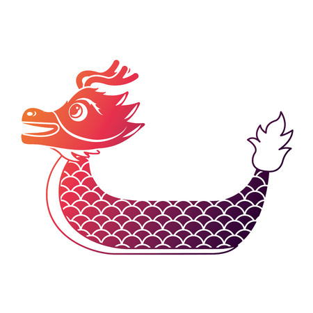 red dragon boat cartoon chinese vector illustration
