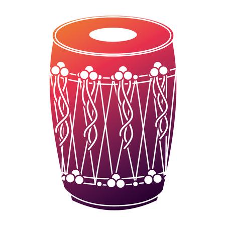 musical instrument punjabi drum dhol indian traditional vector illustration