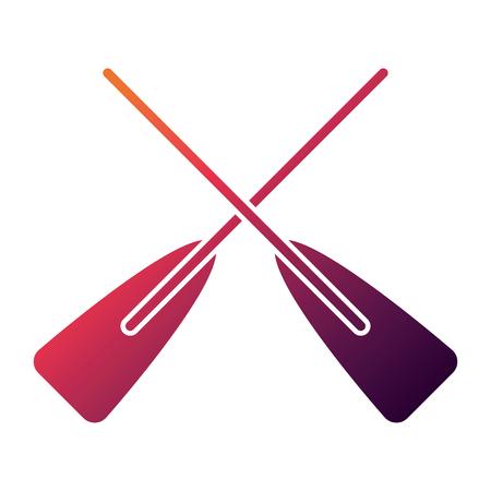 two wooden crossed boat oars sport vector illustration