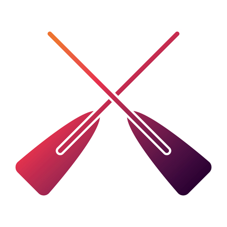 two wooden crossed boat oars sport vector illustration