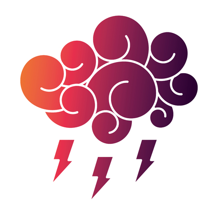 cloud thunderbolt storm cartoon image vector illustration