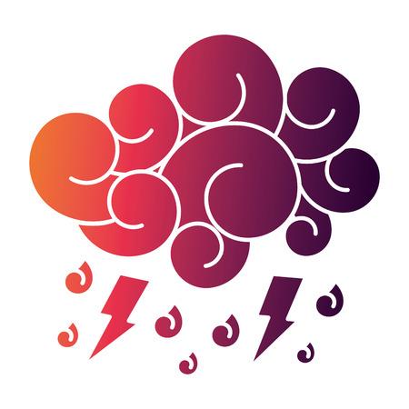 cloud lightning raindrops cartoon image vector illustration
