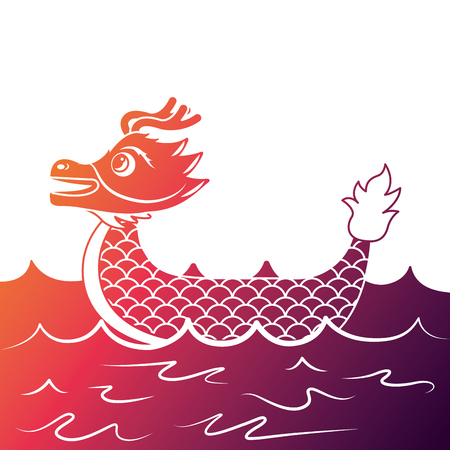 red dragon man rowing festival chinese chinese traditional vector illustration