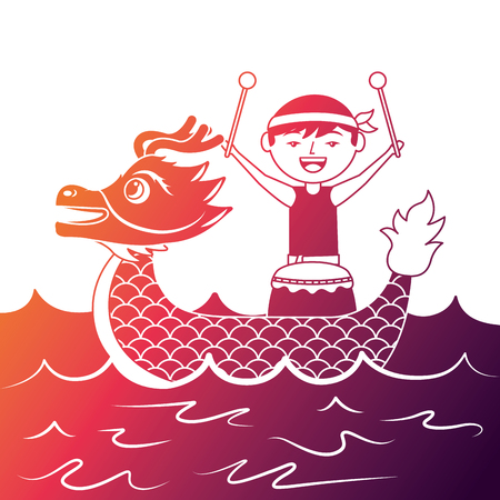 red dragon man with drum sea festival chinese vector illustration