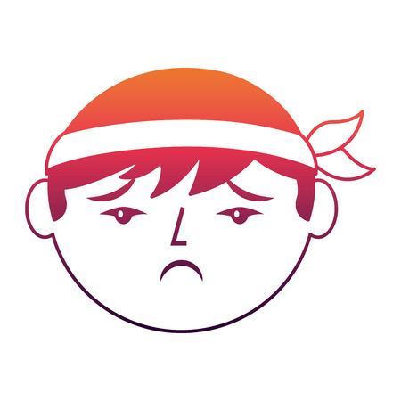 cartoon sad face chinese man vector illustration