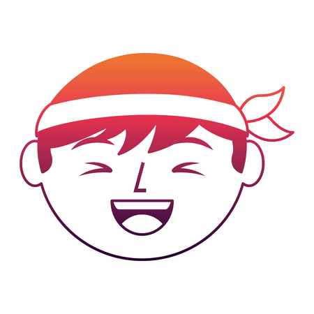 cartoon face laughing chinese man vector illustration 向量圖像