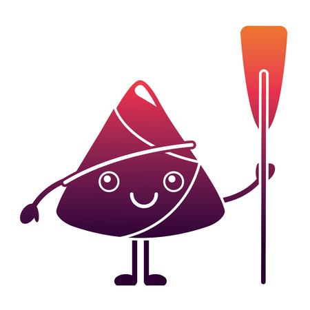 kawaii happy rice dumpling holding wooden oar vector illustration Ilustrace