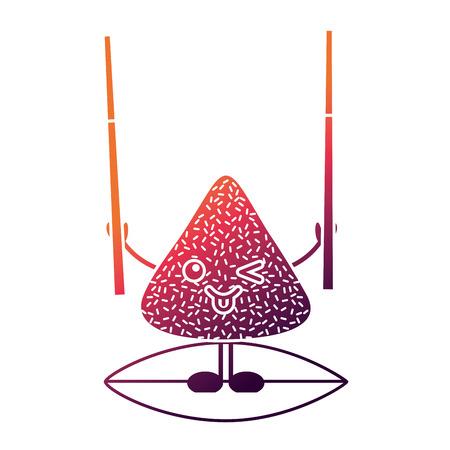 木の棒ベクトルイラストを保持する幸せなお米餃子  イラスト・ベクター素材