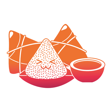 happy rice dumpling and sauce cartoon vector illustration