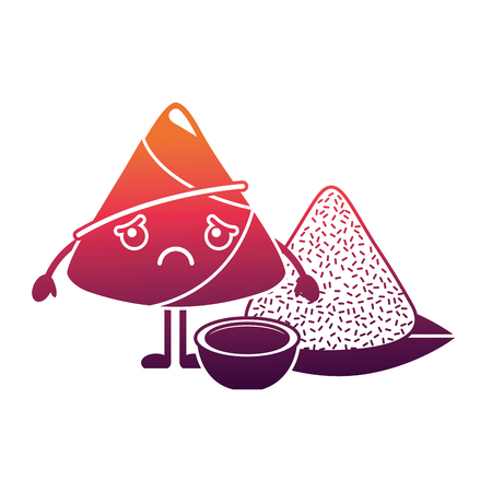 kawaii sad rice dumpling with sauce cartoon vector illustration Ilustrace