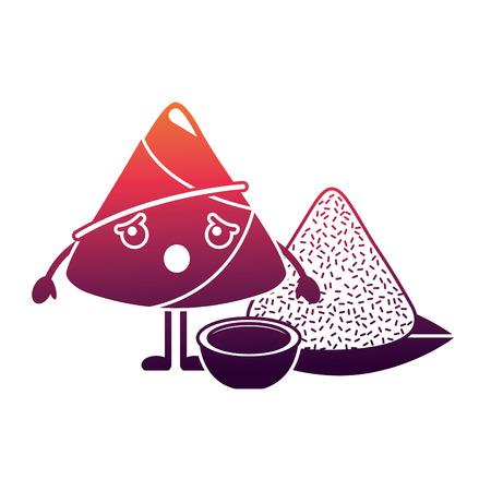 kawaii surprised rice dumpling with sauce cartoon vector illustration Illustration