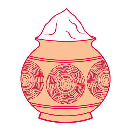 Powder color mud pot and mandala vector illustration 向量圖像