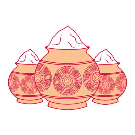 Three powder color mud pot and mandala vector illustration Illustration