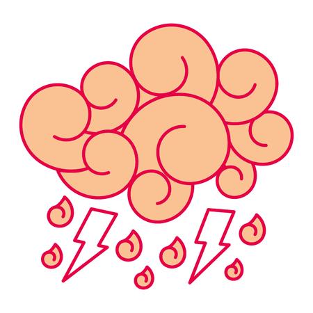 cloud lightning raindrops cartoon image vector illustration Illustration