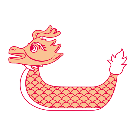 orange dragon  boat cartoon chinese vector illustration 向量圖像