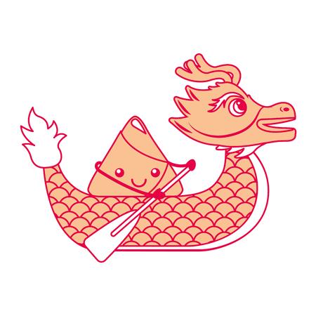 oranje draak rijst knoedel peddelen festival chinese vectorillustratie