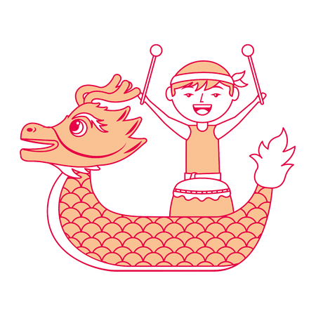 oranje draak man met drum festival chinese vectorillustratie Stock Illustratie
