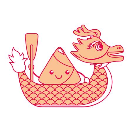 orange dragon  rice dumpling paddling festival chinese vector illustration