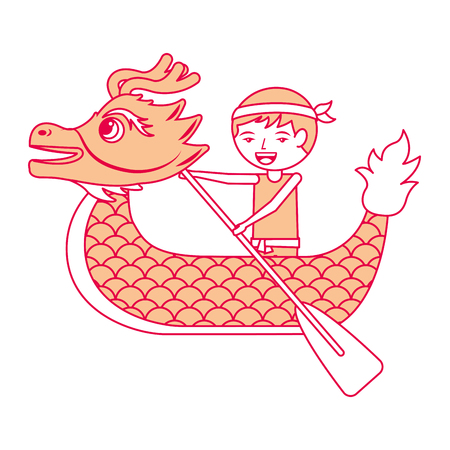 orange dragon  man rowing festival chinese traditional vector illustration