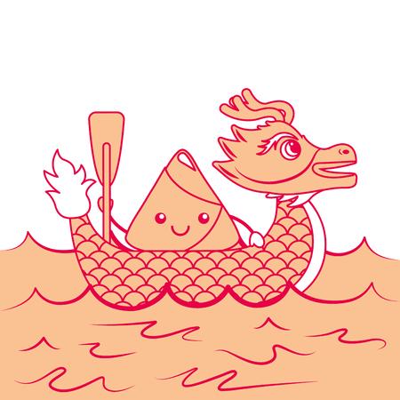 orange dragon  rice dumpling paddling sea festival vector illustration