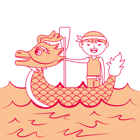 orange dragon  man rowing festival chinese chinese traditional vector illustration