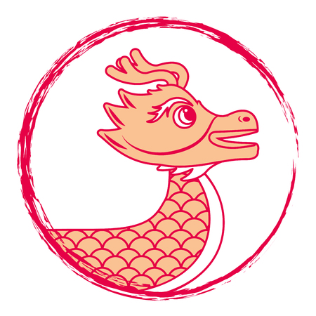 drawing red chinese dragon symbol vector illustration