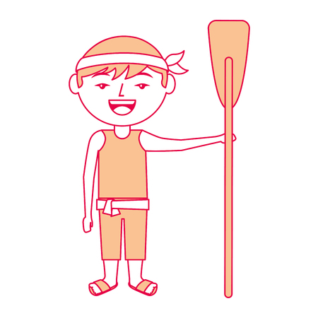 funny cartoon chinese man standing holding wooden oar vector illustration Banco de Imagens - 94685178
