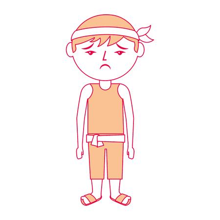 sad cartoon chinese man standing vector illustration