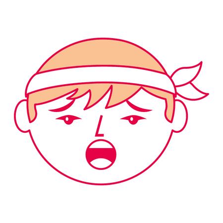 cartoon face chinese man talking unhappy vector illustration
