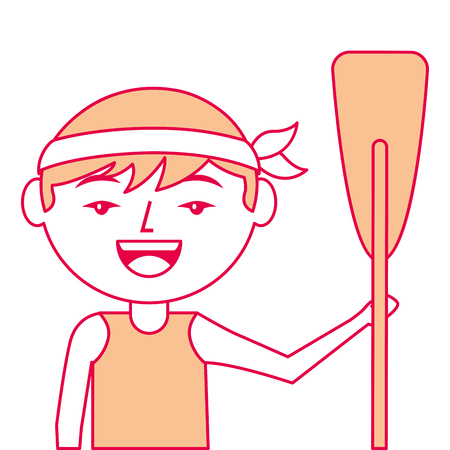 portrait cartoon man chinese with wooden oar vector illustration Ilustrace