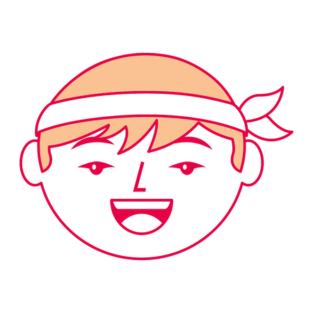 cartoon face cartoon happy chinese man vector illustration