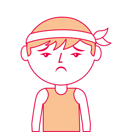 portrait cartoon sad man chinese with head band vector illustration