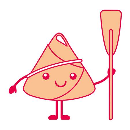 happy rice dumpling holding wooden oar vector illustration