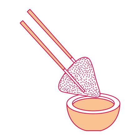 Piatto di riso gnocchi e salsa di soia con illustrazione vettoriale tradizionale bastoni Archivio Fotografico - 94685164